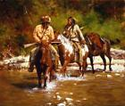 Howard TERPNING  Crossing Badger Creek  New art Canvas native Indians