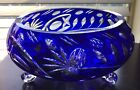 Antique Cobalt Blue Czech Bohemian Lead Crystal Cut to Clear Footed Bowl 10