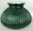 Vintage Emerald Green Cased Glass Ribbed Oil Student Lamp Shade for 7 Fitter