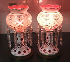 Pair of Bohemian Czech Cased Glass Cut to Cranberry Electric Mantle Lusters