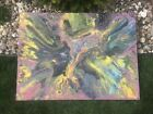 Large Abstract Acrylic Pour Painting on Canvas Beautiful Modern Art 24x48