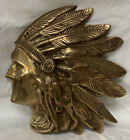 Cast Bronze Brass Native American Indian Chief Head Profile Wall Art Ships 12 18