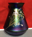 Vintage Carnival Glass Miniature Vase Hand Painted Beautiful 4