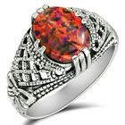 2CT Natural Red Fire Opal 925 Solid Sterling Silver Ring Jewelry Sz 7 OF1