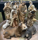 8 inch Tall 11 Piece Set of Large Christmas Nativity Scene Figurines