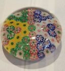 Vintage Murano Art Glass Millefiori Paperweight Multi Color Flowers Free Shippin