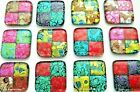 ETCHED 12 pcs SQUARE DICHROIC FUSED GLASS pendants D13 CABOCHONS HANDMADE