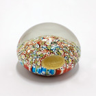Hand Blown Murano Italian Glass Floral Dome Paper Weight with Original Sticker