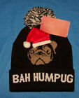 One Size  Adult Bah Hum Pug Dog Christmas Winter Hat Beanie