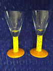 KOSTA BODA ORANGE BASE YELLOW STEM AFTER DINNER CORDIAL GLASSES