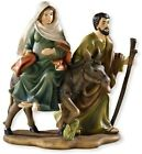 Holy Family Nativity Journey to Bethlehem Full Color Figurine Statue 8 Inch