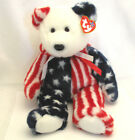 TY Spangle Beanie Baby Buddy Bear Nonpartisan Red White Blue Collectible