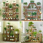 Extra Large Wood Plant Stand Flower Steady Carbonized Rack Outdoor Yard Patio