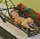 Baby Jesus Wood Twig Crib Movable Arms Brown Glass Eyes 12 inch Nativity Statue