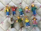 "RARE Vintage Arthur 2000 Marc Brown PBS Kids 1.5"" PVC Mini Figures Lot Of 9"
