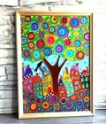 Stained glass tree art Glass painting 1410 Tree of life colorful wall decor