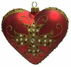 Red and Gold Heart with Jeweled Cross Polish Glass Christmas Tree Ornament