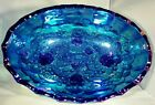 Indiana Blue Carnival Glass Large Oval Footed Fruit Bowl