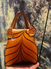 Vintage Purse Shopping Bag Red Blown Art Glass Millefiori Murano Decoration