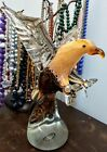 Large Hand Fused Vintage Glass Eagle Statue Figurine By Dynasty Gallery