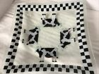 PEGGY KARR Fused Glass 12 Plate Dish COW Checkerboard Black White Retired