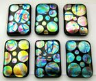 ETCHED Lot 6 pcs RECTANGLE DICHROIC FUSED GLASS pendant BC13 CABOCHON HANDMADE