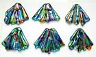 FUNKY set 6 pcs DICHROIC FUSED GLASS pendants E1 CABOCHON for WIRE WRAPPING