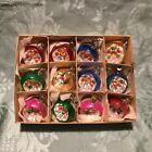 Box Of Vintage Fancy Coloured Glass Christmas Tree Reflector Ornaments12