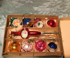 Vintage Box Of Woolworths Coloured Glass Christmas Tree Ornaments 9