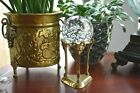Vintage Clear Controlled Bubble Glass Paperweight with Brass Ram Sphere Stand