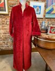Stan Herman Red Tall Silky Plush Trimmed Wave Long Zip Robe New