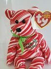 TY Beanie Baby HOLIDAY TEDDY 2007 Red Stripes Tag Label Box Christmas Plush