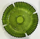 Vintage olive green glass ashtray 9 Round 2 Tall ribbed design
