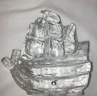 Swedish Pukeberg Ship Art Glass Paperweight New Sweden