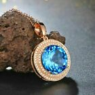 520Ct Round Cut Blue Topaz Double Halo Pendant 14K Rose Gold Finish Free Chain