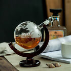 Vintage Whiskey Glass Decanter Etched Globe Design Wine Liquor Xmas Gift