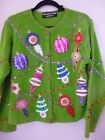 Christopher Radko Christmas green jeweled sequin ornament cardigan sweater M