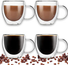 Double Walled Glass Coffee Cups Set Of 4 Glass Tea Cup With Handle8Oz 250Ml In