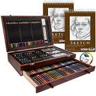 145 Piece Mega Wood Box Art Painting  Drawing Set with 2 9x12 Paper Pads