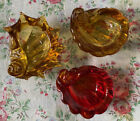 3 Amber Glass Sea Shell Trinket Dishes Murano Style Vintage