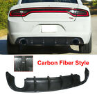 For Dodge Charger 15 18 RT 15 21 SXTSE Rear Bumper Lip Diffuser Carbon Look ABS