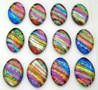 Lot of 12 pcs OVAL DICHROIC FUSED GLASS pendant D21 CABOCHONS HANDMADE
