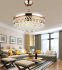 42 Retractable Crystal Ceiling Fan Light Remote Control LED Gold Chandelier
