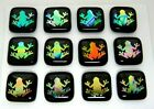 ETCHED FROG Lot 12 pcs DICHROIC FUSED GLASS pendant BH6 CABOCHON HANDMADE