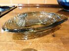 Sowerby  Attractive Tactile 3 x Sided Grey Glass Dish Sharp Ribbed Decoration