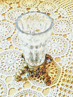 CLEARANCE Vintage Clear Glass Vase Gold Tone Legs Decorative Collectible Sturdy