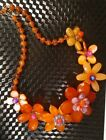 Amazingly Gorgeous Handcrafted Beaded Glass Coral  Molded Flower Necklace