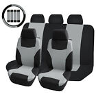 Universal Car Seat Cover Set Front Back Cushion Protector Steering Wheel Cover