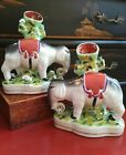 Stunning Chinoiserie English Staffordshire Style Mantle Elephant Spill Vase Pair