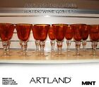 Set of 12 ARTLAND IRIS AMBER Water Goblets Bubble Glass MINT Condition
